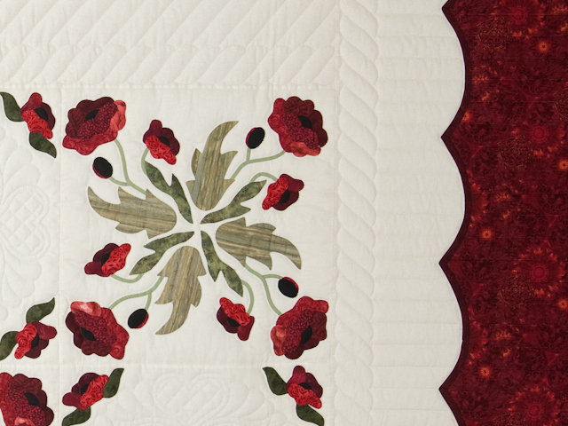 Red and Green Poppy Fields Quilt Photo 5