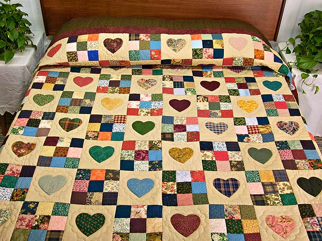 Green Burgundy and Multicolor Hearts and Nine Patch Quilt Photo 1