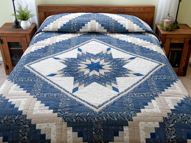 Slate Blue and Tan Log Cabin Lone Star Quilt Photo 1