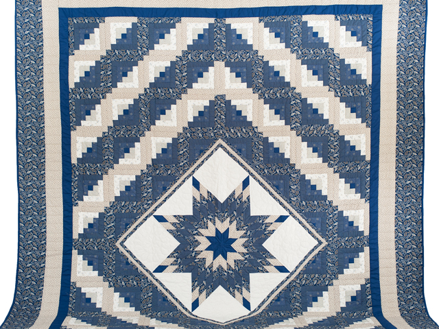 Slate Blue and Tan Log Cabin Lone Star Quilt Photo 2