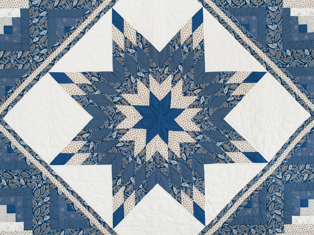 Slate Blue and Tan Log Cabin Lone Star Quilt Photo 3