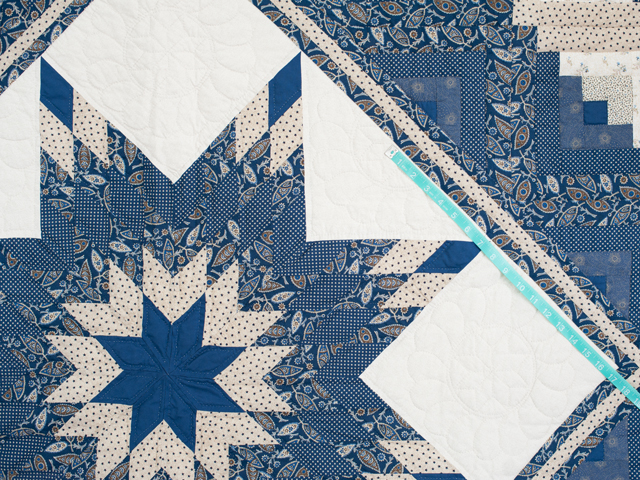 Slate Blue and Tan Log Cabin Lone Star Quilt Photo 4