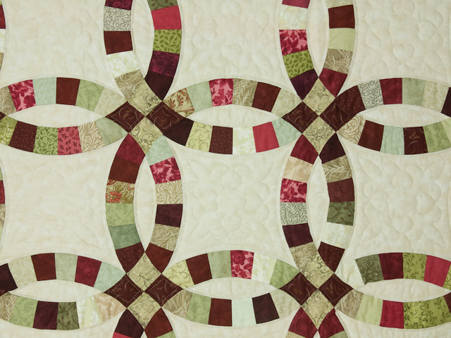 Double Wedding Ring Quilt Burgundy/sage queen size bed quilt Photo 5