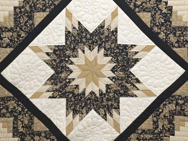 Black Gold And Tan Lone Star Log Cabin Quilt Photo 3
