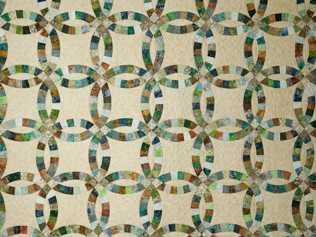 Wedding Ring in Batiks  Queen Bed Size Quilt Photo 3