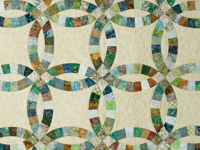 Wedding Ring in Batiks  Queen Bed Size Quilt Photo 4