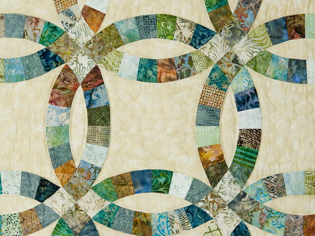Wedding Ring in Batiks  Queen Bed Size Quilt Photo 5