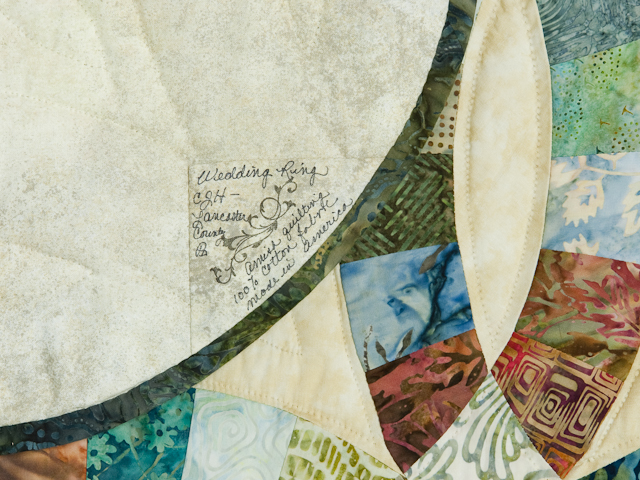 Wedding Ring in Batiks  Queen Bed Size Quilt Photo 6