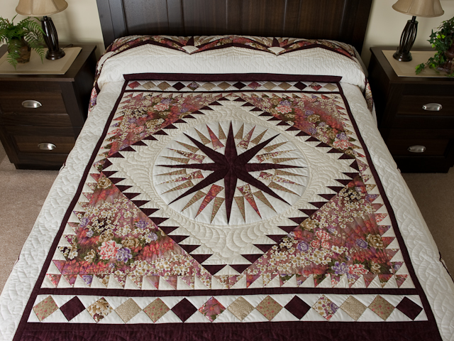 Mariners Star Queen Bed Size  Plums/rose/sage/coral/on ivory Photo 1