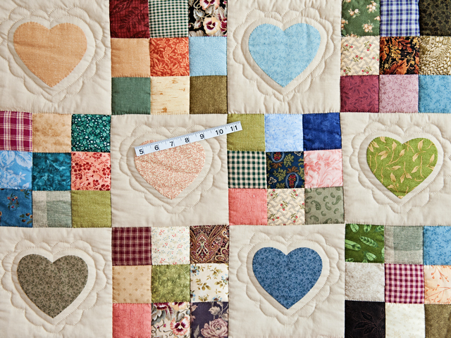 Green and Multicolor Hearts and Nine Patch Quilt Photo 4