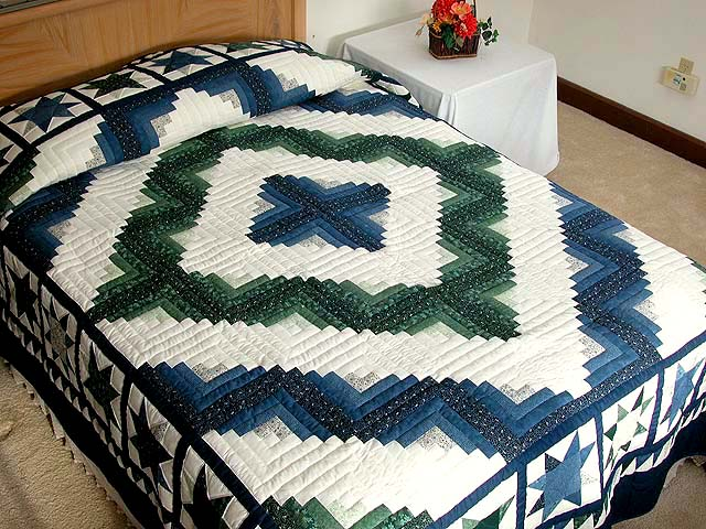 Blue and Green Log Cabin Granny Star Quilt Photo 1