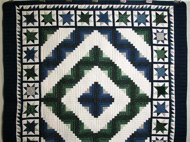 Blue And Green Log Cabin Granny Star Quilt Photo 2