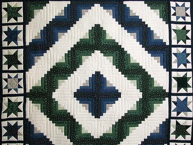 Blue and Green Log Cabin Granny Star Quilt Photo 3