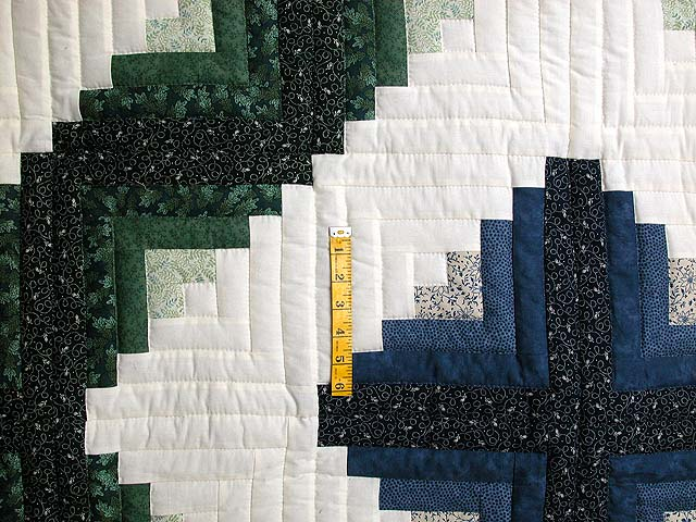 Blue and Green Log Cabin Granny Star Quilt Photo 4