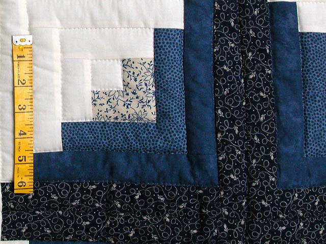 Blue and Green Log Cabin Granny Star Quilt Photo 5