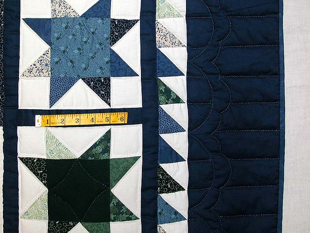 Blue and Green Log Cabin Granny Star Quilt Photo 7