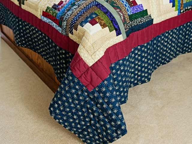 Navy, Burgundy and Multicolor Log Cabin Star Photo 7