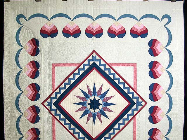 Blue and Rose Mariners Medallion Quilt Photo 2