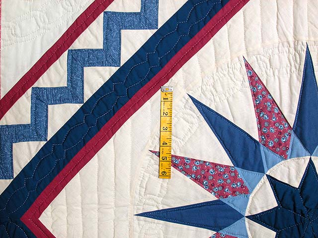 Blue and Rose Mariners Medallion Quilt Photo 4