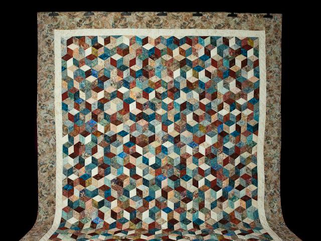 Tumbling Blocks - Queen size Hand Painted Batiks -  blues/reds/neutrals Photo 2