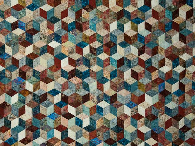 Tumbling Blocks - Queen size Hand Painted Batiks -  blues/reds/neutrals Photo 3