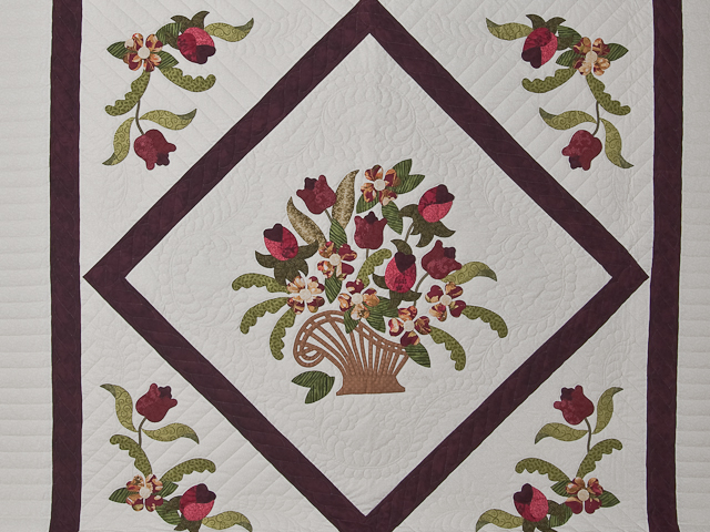 Burgundy, coral, green, ivory Queen Spring Basket Quilt Photo 3