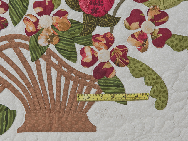 Burgundy, coral, green, ivory Queen Spring Basket Quilt Photo 6