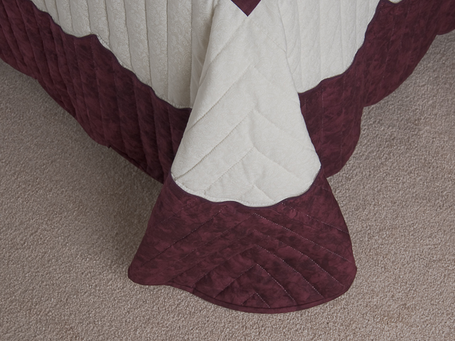 Burgundy, coral, green, ivory Queen Spring Basket Quilt Photo 7