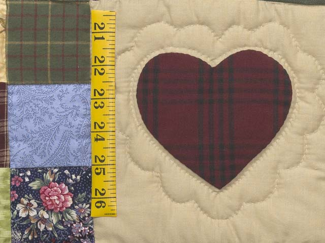 King Navy and Burgundy Hearts and Nine Patch Quilt Photo 5