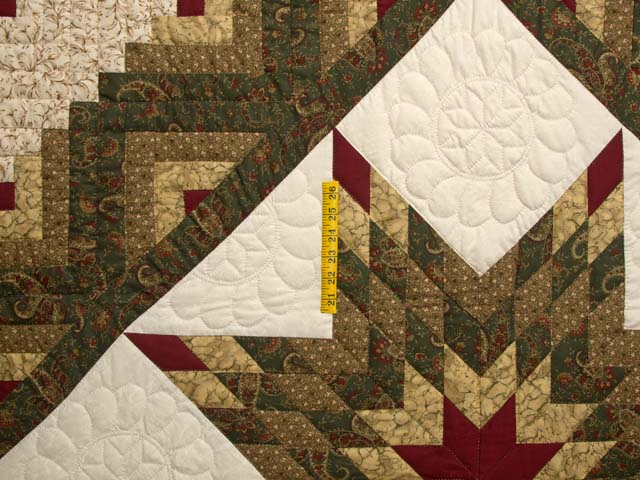 Lone Star Log Cabin Quilt -- marvelous ably made Amish Quilts from Lancaster (hs6990)