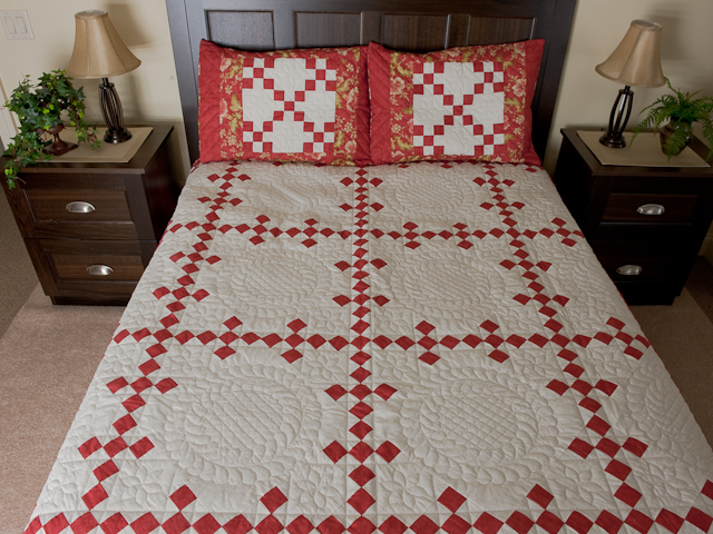 Paprika and Ivory Nine Patch Quilt