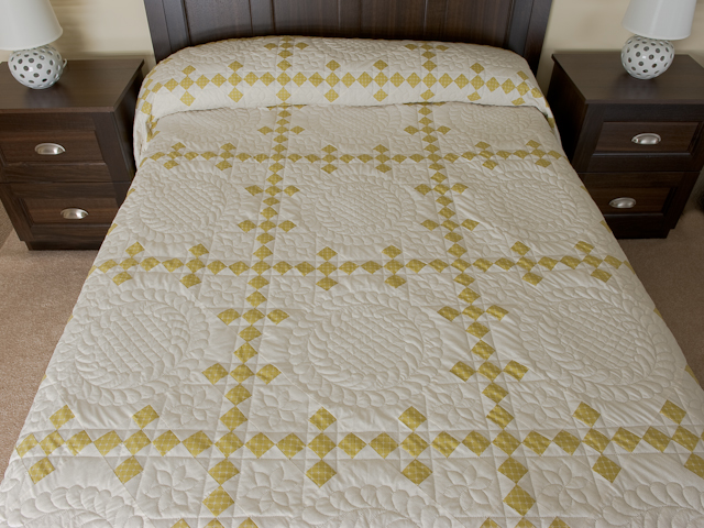 Artichoke green and Ivory  Nine Patch KING Quilt Photo 1