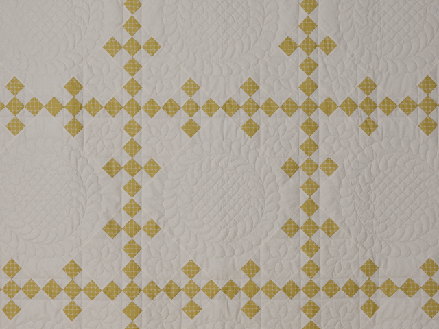 Artichoke green and Ivory  Nine Patch KING Quilt Photo 3