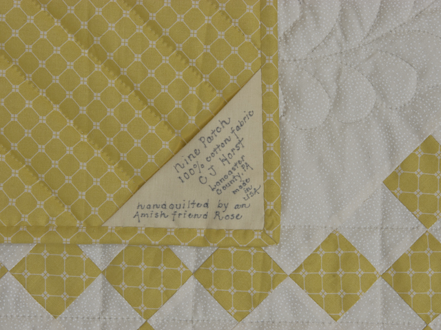 Artichoke green and Ivory  Nine Patch KING Quilt Photo 6