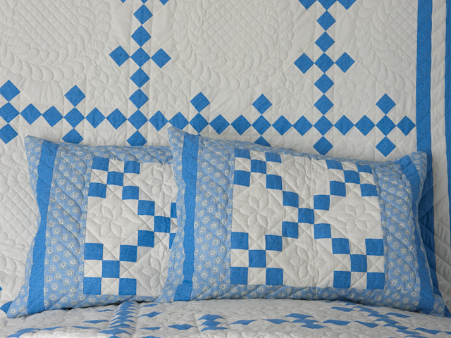 Blue and Ivory Nine Patch Queen Quilt
