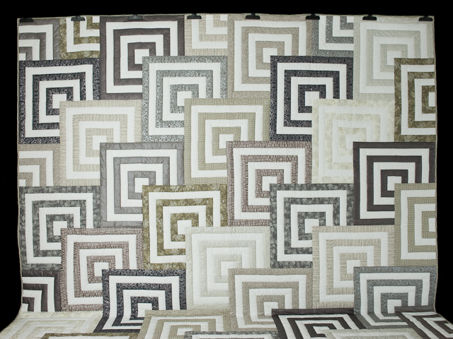 Mesmerize - Modern Grays and Taupes Queen size bed quilt Photo 2