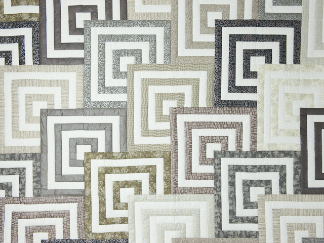 Mesmerize - Modern Grays and Taupes Queen size bed quilt Photo 3