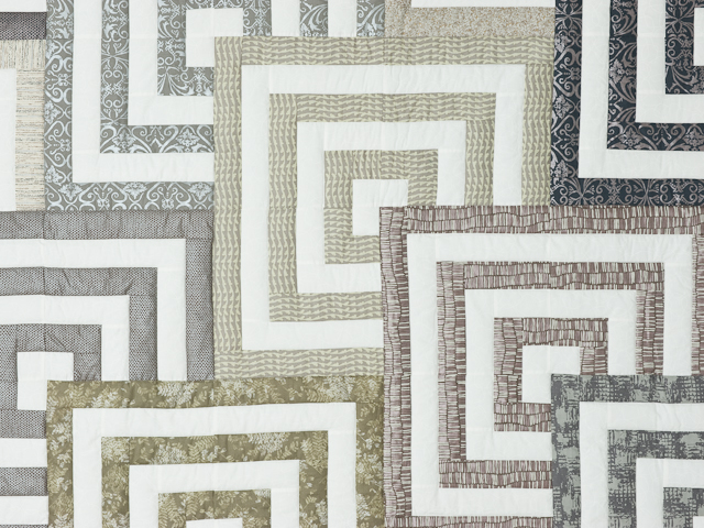 Mesmerize - Modern Grays and Taupes Queen size bed quilt Photo 4