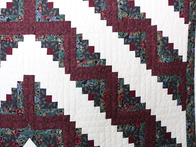 Burgundy Black and Gold Lone Star Log Cabin Quilt Photo 4