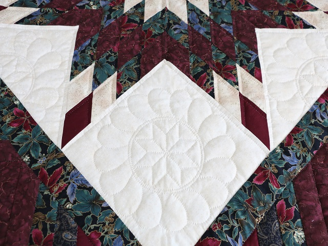 Burgundy Black and Gold Lone Star Log Cabin Quilt Photo 7