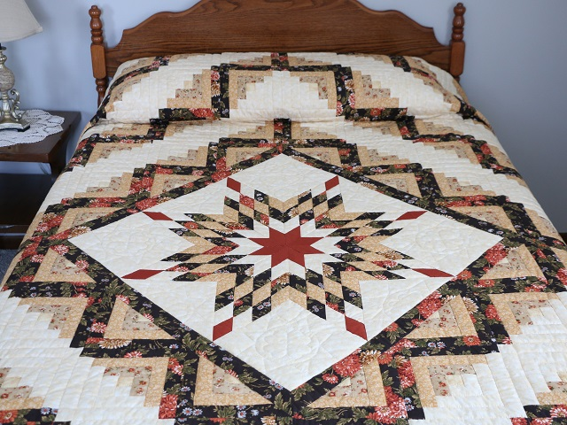 BrownGreen-Gold Lone Star Log Cabin Quilt Photo 1
