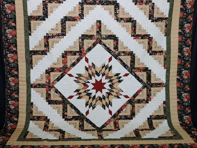 BrownGreen-Gold Lone Star Log Cabin Quilt Photo 2