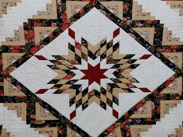 BrownGreen-Gold Lone Star Log Cabin Quilt Photo 3