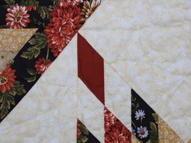 BrownGreen-Gold Lone Star Log Cabin Quilt Photo 4