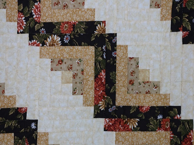 BrownGreen-Gold Lone Star Log Cabin Quilt Photo 5