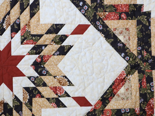 BrownGreen-Gold Lone Star Log Cabin Quilt Photo 6