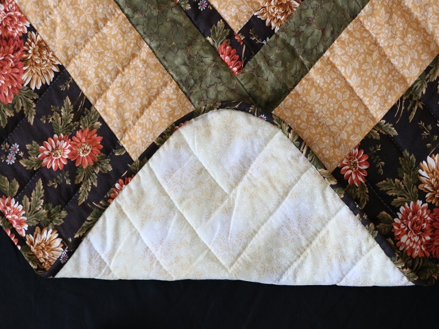 BrownGreen-Gold Lone Star Log Cabin Quilt Photo 8