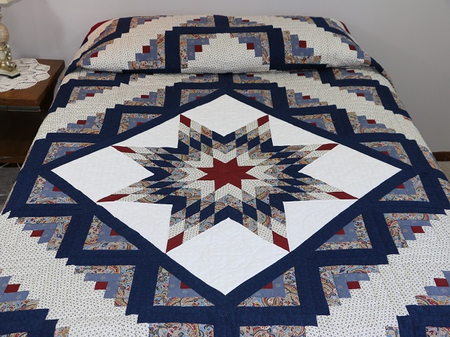 Blue And Burgundy Lone Star Log Cabin Quilt