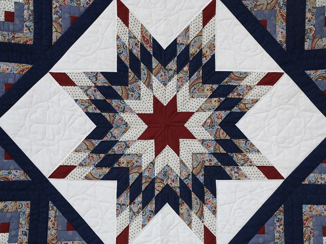Blue and Burgundy Lone Star Log Cabin Quilt Photo 3