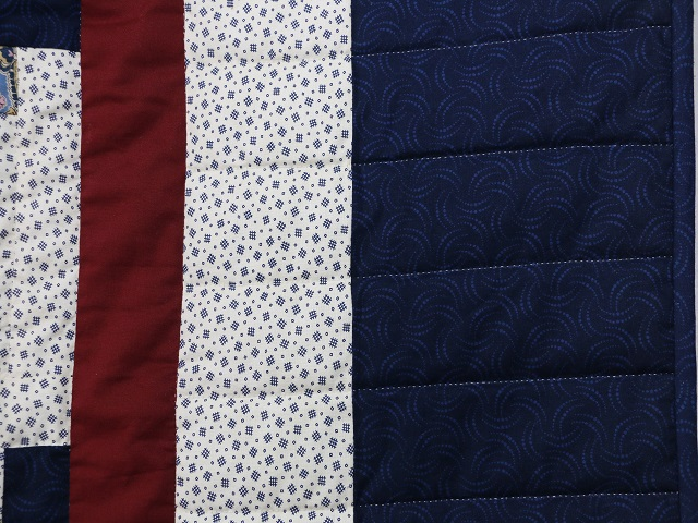 Blue and Burgundy Lone Star Log Cabin Quilt Photo 6